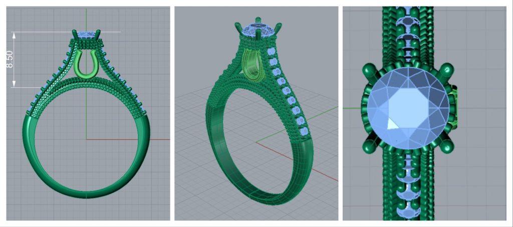 projeto 3D do anel de noivado